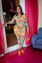 Fashion Long Sleeve Print Slim Jumpsuit FSL-119