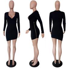 Sexy Ribbed V Neck Irregular Mini Bodycon Dress LSL-6175