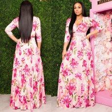 Floral Print V Neck Three Quarter Sleeve Sashes Maxi Dress SMR-9974