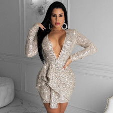 Fashion Sexy Sequin Long Sleeve Deep V Party Club Evening Dress FENF-047