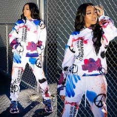 Splash Ink Letter Print Pocket Sports Sweatshirt Two Piece Set MIF-9027