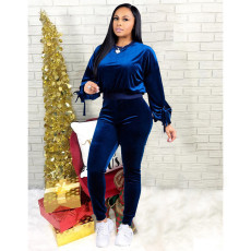 Plus Size Fall / Winter Casual Solid Color Gold Velvet Two Piece Set YFS-3617