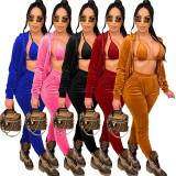 Solid Velvet Bra Top+Hooded Coat+Pants 3 Piece Sets CYA-8774