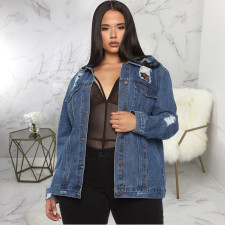 Plus Size 5XL Casual Denim Ripped Hole Jacket Coat SMR-9867