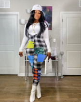Fashion Casual Plaid Print Suspender Jumpsuit YSYF-7267