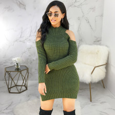Sexy Knitted Off Shoulder Long Sleeve Sweater Dress SMR-9855