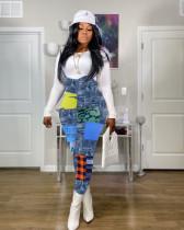 Fashion Casual Imitation Denim Print Suspender Jumpsuit YSYF-7266