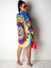 Plus Size Casual Printed Long Sleeve Shirt Dress SMR-9785