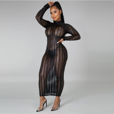 Sexy Hollow Out Long Sleeve Maxi Dress CYA-8752
