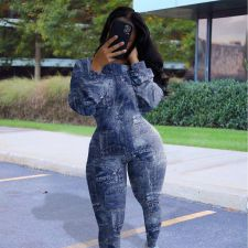 Plus Size Fashion Imitation Denim Print Casual Tight Jumpsuit YFS-3614