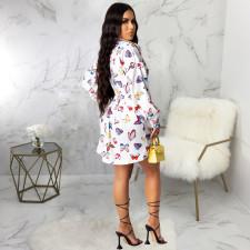 Plus Size Butterfly Print Full Sleeve Shirt Dress SMR-9772