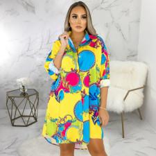 Plus Size Casual Printed Long Sleeve Shirt Dress SMR-9860