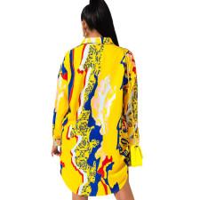 Plus Size Casual Printed Long Sleeve Shirt Dress SMR-9784