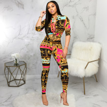Casual Printed Half Sleeve Blouse Pants 2 Piece Sets SMR-9703