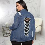 Plus Size 5XL Casual Denim Ripped Hole Jacket Coat SMR-9867