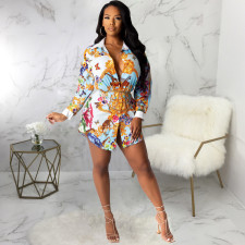 Plus Size Casual Printed Shirt Dress Without Chain SMR-9767