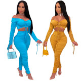 Sexy Off Shoulder Ruched Long Sleeve 2 Piece Sets SMR-9737