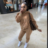Plus Size 5XL Solid Plush Hooded Two Piece Suits CYA-1332