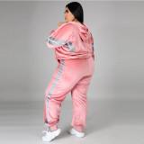 Plus Size 5XL Velvet Hoodies Pants 2 Piece Suits CYA-1333