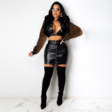 Trendy Leather Jacket Mini Skirt Two Piece Suits CYA-8784