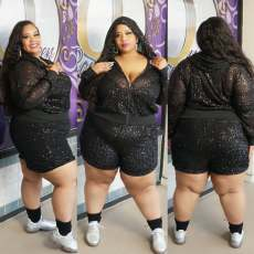 Plus Size 5XL Shiny Sequins Hooded Two Piece Shorts Set CYA-1341