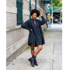 Plus Size Casual Loose Big Swing Long Sleeve Dress YIY-5237