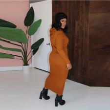 Solid Long Sleeve Hooded Maxi Dress CYA-8812