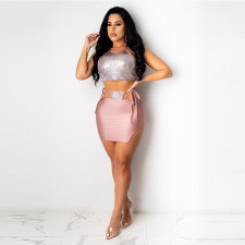 Sexy Halter Crop Top Lace Up Mini Skirt 2 Piece Sets CYA-8796