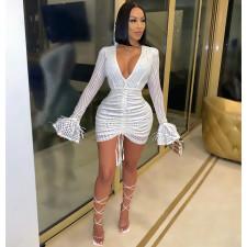Sexy Sequined V Neck Long Sleeve Mini Club Dress CYA-8785