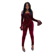 Plus Size Sexy Slash Neck Long Sleeve Jumpsuits YNB-7141