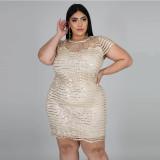 Plus Size 5XL Sexy Sequined Hollow Club Dress CYA-1326