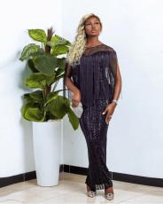 Sexy Shiny Sequins Tassel Party Club Maxi Dress CYA-8776