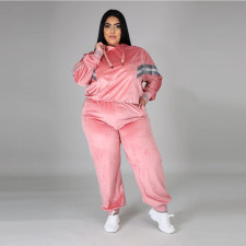 Plus Size 5XL Velvet Hoodies Pants 2 Piece Suits CYA-1333