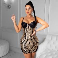 Sexy Shiny Sequined Spaghetti Strap Club Dress CYA-8794