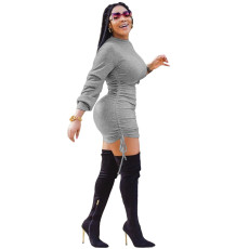 Sexy Solid Long Sleeve Ruched Mini Bodycon Dress XMY-9278