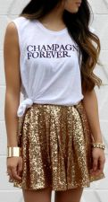 Shiny Sequined Pleated Mini Skirt YF-9766