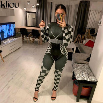 Casual Plaid Long Sleeve Slim Fit Jumpsuits LLF-5518
