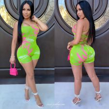 Summer Sexy Print Bandage Backless Romper LJF-6009