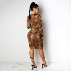 Sexy Printed Ruched Long Sleeve Bodycon Dress YD-8328