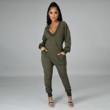 Casual Solid Deep V Neck Long Sleeve Jumpsuits YM-9259