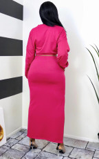 Solid Full Sleeve Tops Long Skirt 2 Piece Suits SFY-202
