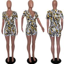 Short Sleeve Print Casual Sexy Romper LJF-6001