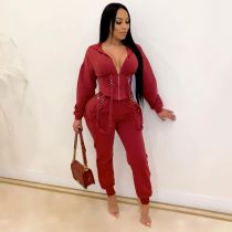Casual Hooded Zipper Two Piece Jogging Sets OSM-6118