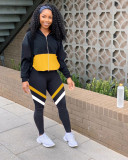 Casual Tracksuit Patchwork Zipper Two Piece Sets KSN-8059
