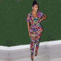 Short Sleeve Letter Print Casual Fashion Jumpsuit LJF-6013