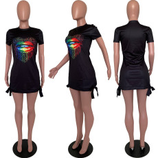 Black Lip Print Short Sleeve Casual Dress LJF-6010