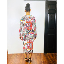 Sexy Deep V Neck Full Sleeve Long Dress AWF-5821