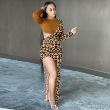 Leopard Print Splice Sexy Fashion Long Sleeve Bare Leg Maxi Dress SMF-8057