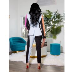 Contrast Color Notched Collar Blazer Two Piece Suits SFY-196