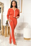 Casual Slash Neck Long Sleeve Two Piece Suits XMY-9271
